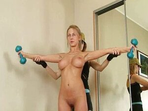 Busty blonde trained by rude lesbian coach
