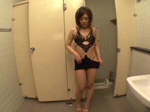 Erika Inamoto plays with her snatch in the bathroom and gets facialed