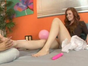 Naughty teens rub feet and suck toes before hot strapon fuck