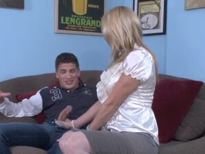 Passionate blonde MILF in stockings fucks her son in law