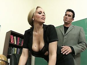 Julia Ann has fun with new teacher in the classroom
