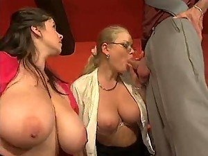 Business man fucks two big titty coworkers