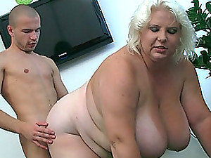 A thin guy has an incredible fuck with a big fat mature woman