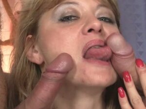 Horny granny gets two cocks for dinner