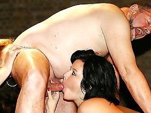 Two beauties rimming a fat senior and sucking