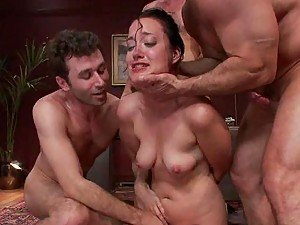 Kinky Wife Masturbating Gets Gangbanged