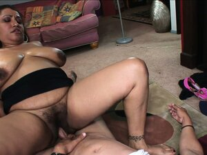 Chunky Latina mom takes a stiff piece of meat in her furry muff