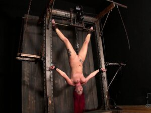 Red-haired pain junkie withstanding a hardcore suspension torture and telling about it