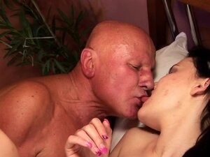 Young brunette Dia wants her bald and fat bastard
