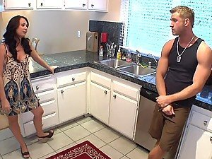 Horny Mom Fucking Her Son's Friend in the Kitchen as a Snack