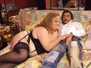 Fat German in lingerie has pussy fisted