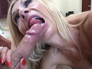 Busty Blonde MILF Brooke Tyler Gets Cum on Her Tits after Blowjob and Sex
