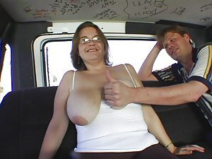 An older skank gets into the back of a van on the promise of a sex session