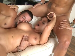 Busty slut has anal on the sofa in a MMF threesome