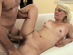 Blonde cougar with tiny tits bangs her man like a true sex freak