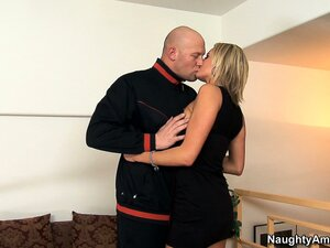 Busty blonde sweetheart Zoe Holiday goes down and eats his wiener