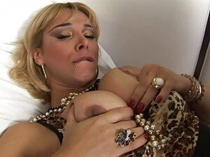 Blonde shemale in heels gets big pecker up her ass