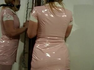 Small tits latex clad hottie in action with her master