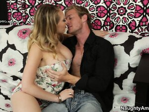 Kagney Linn Karter swallows his sausage then gets cunt licked