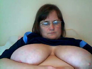 Bored BBW housewife shows me her giant saggy tits on webcam