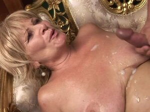 Sally G. gives a blowjob and a titjob and gets her meaty pussy pounded