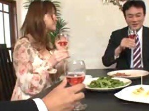 Naughty Japanese Drinks Cum From a Cup After Blowing Two Cocks in Threesome