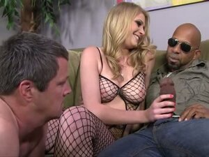 Allie James plays with black cock in front of cuckold