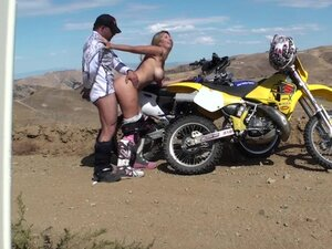 Sexy beauty is sucking dick of her biker boyfriend