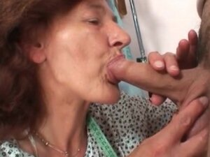 Mature seamstress sucks his young dick