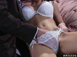 Baby in sultry underwear gets felt up before giving a hot handjob