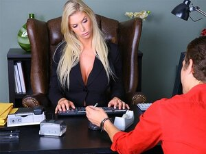 A blonde bimbo that uses being the boss of the company to get cock fucks the new guy