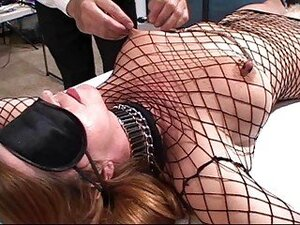 Innocent looking brunette in fishnet body stockings loves to be tied and tortured