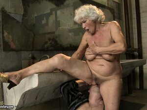 Hairy snatch of old woman gets bonked by that perverted male