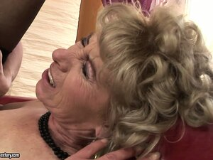 Real dirty granny gets to suck on a young lad's massive member