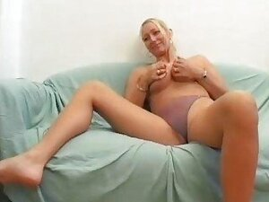 Horny blonde German chick fucks on camera