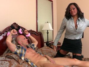 Big-tit brunette MILF comes home to find college boy