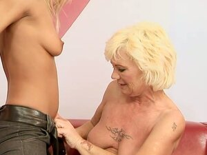 Blonde Teen Gets Her Perfect Ass Fucked by a Granny's Strapon Dildo