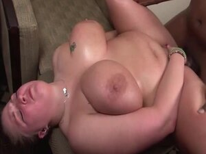 Fat oiled up slut fucked in her pussy