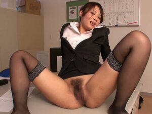 Risa Kotani the slutty office babe gets her hairy pussy drilled