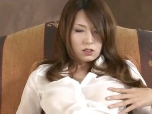 Yui Hatano in a see through shirt begins to fondle her tits and toy her pussy