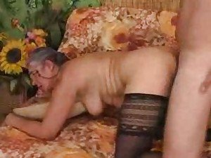 Young man fucking granny up the butt after BJ
