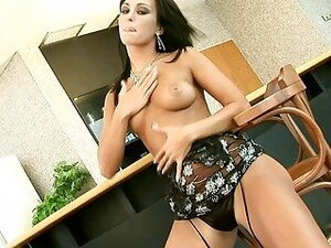 Randy dark haired pornstar in hot black lingerie strips and fingers herself