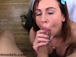 Mae Lynn drives that shaft to climax and a stream of cum flows down her throat
