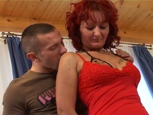 Red haired big tits momma opens wide for furious fresh boner