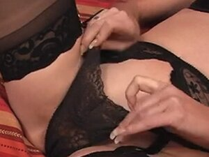 Hottie in lingerie masturbating solo