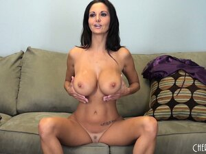 Ava holds her big boobs and gets a dildo to stick in her cunt