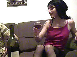 Drunk Brunette Hot Nerd Blowjob and Hot Fucking