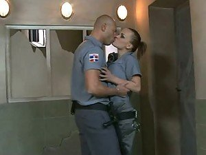 Busty Police Officer Getting Fucked By an Inmate and Another Cop
