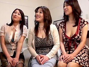 Three Japanese MILFs having wild CFNM sex with one guy