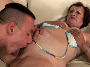 Kinky dark-haired granny Eve Tickler gets her hairy snatch licked and pounded